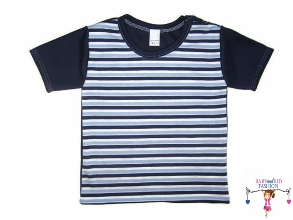 Fiú rövid ujjú póló, sötétkék csíkos, rövid ujjú, kisfiúknak, termékkép.