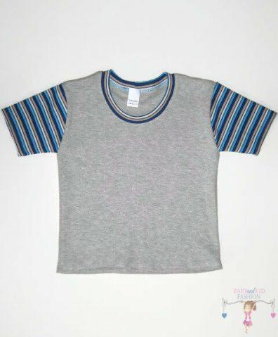 Fiú rövid ujjú póló, világosszürke színű, rövid ujjú, kisfiúknak, termékkép.