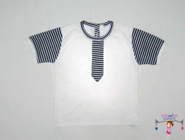 gyerek póló, fehér színű, nyakkendős, rövid ujjú, kisfiúknak, termékkép.