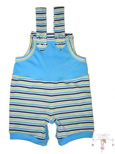baba kertésznadrág, rövid, nyári fazon, türkizkék, kisbabáknak, termékkép.
