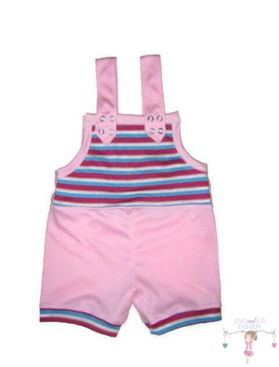 kantáros kertésznadrág, rózsaszín színű, rövid fazonú, kislányoknak, termékkép.