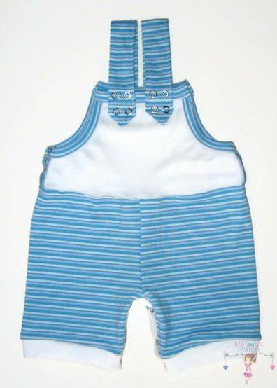 baba kertésznadrág, rövid, nyári fazon, kék csíkos, kisbabáknak, termékkép.