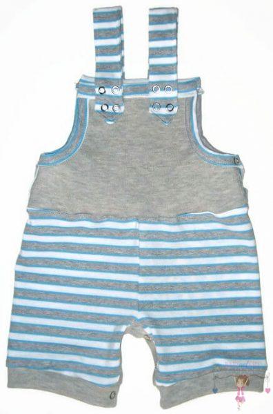 baba kertésznadrág, rövid, nyári fazon, szürke csíkos, kisbabáknak, termékkép.