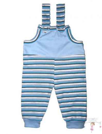 baba kertésznadrág, kék csíkos, hosszú szárú, kisbabáknak, termékkép.