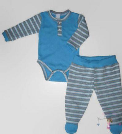 Baba body és lábfejes babanadrág, kék színben, két darabos szett, kisbabáknak, termékkép.