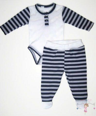 baba body és lábfejes babanadrág, két részes fehér szett, kisbabáknak, termékkép.