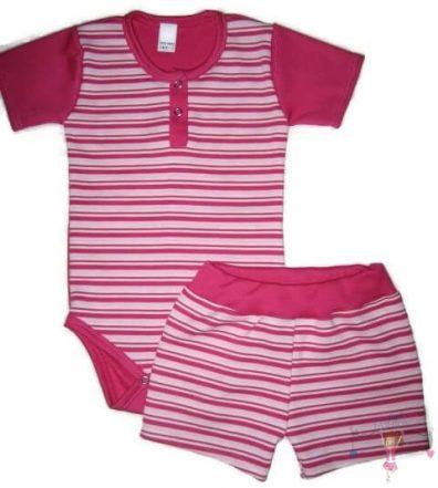 baba body és baba nadrág, két részes pink csíkos szett, kisbabáknak, termékkép.