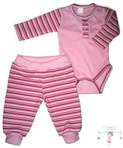 baba body és babanadrág, két részes rózsaszín szett, kisbabáknak, termékkép.