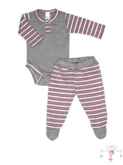 baba body és csíkos lábfejes babanadrág, világosszürke színű, rózsaszín csíkos anyaggal variálva, termékkép.