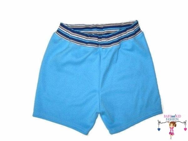 fiú pamut rövid nadrág, türkizkék színű, kisbabáknak, termékkép.