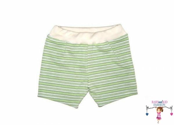 pamut rövid nadrág, zöld csíkos, kislányoknak, termékkép.