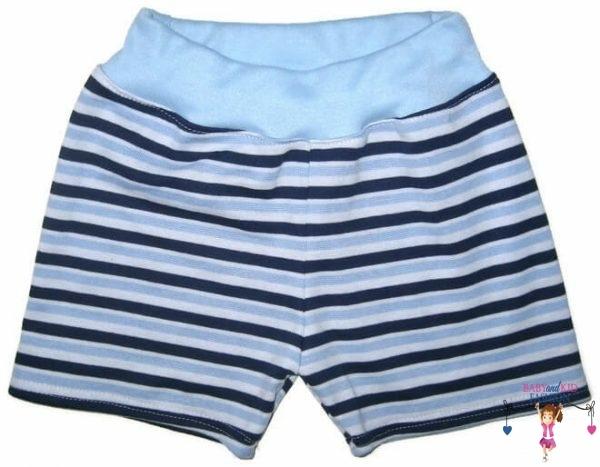 pamut pamut rövid nadrág, sötétkék csíkos, kisgyerekeknek, termékkép.