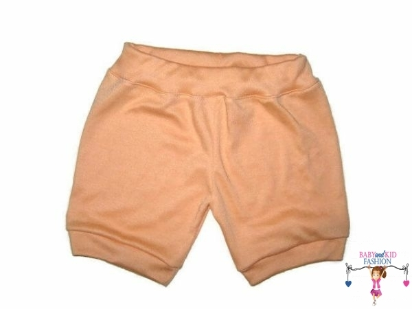 lány pamut rövid nadrág, barack színű, kisbabáknak, termékkép.