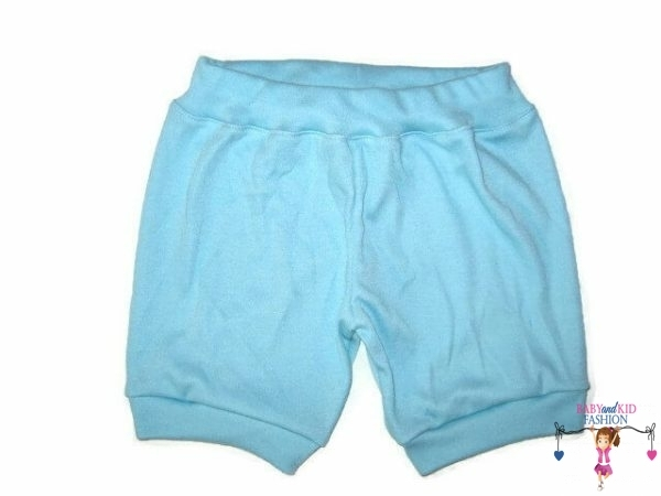 pamut rövid nadrág, almazöld színű, kisbabáknak, termékkép.