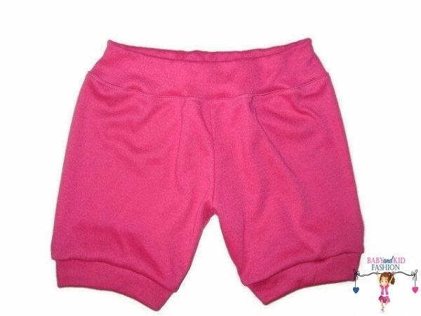lány pamut rövid nadrág, pink színű, kisbabáknak, termékkép.