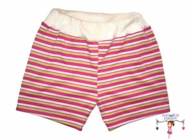 lány pamut rövid nadrág, pink csíkos, kisgyerekeknek, termékkép.