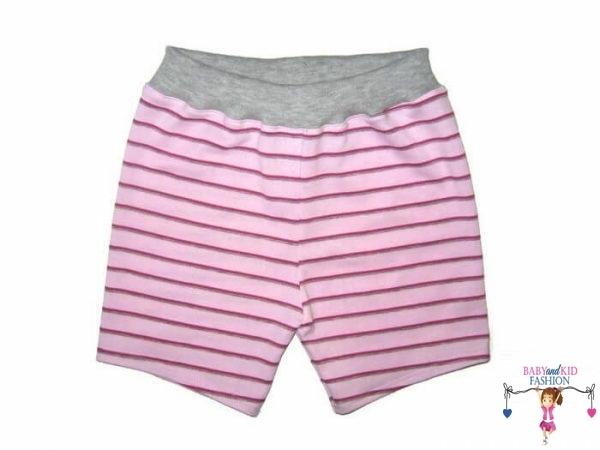 lány pamut rövid nadrág, rózsaszín csíkos, kisgyerekeknek, termékkép.
