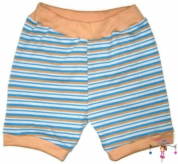 pamut rövid nadrág, narancssárga csíkos, kisgyerekeknek, termékkép.
