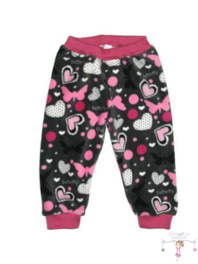 Téli gyerek nadrág, wellsoft, szürke pillangós és szíves baba nadrág kislányoknak, termékkép.