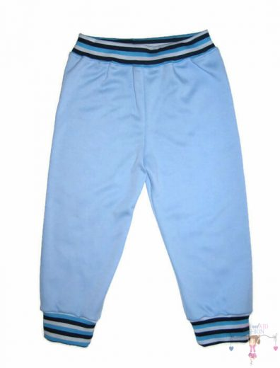 pamut melegítő nadrág, világoskék színű, 50-146, kisgyerekeknek, termékkép.