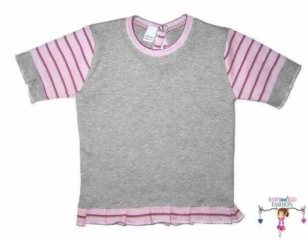 gyerek póló, szürke színű, rövid ujjú, kislányoknak, termékkép.