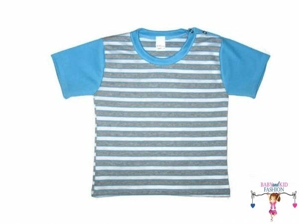 Gyerek rövid ujjú póló, kék csíkos, kisgyerekeknek, termékkép.