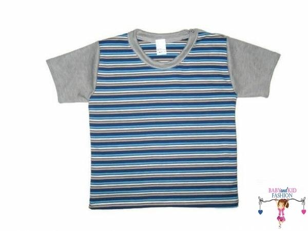 Gyerek rövid ujjú póló, szürke csíkos, kisgyerekeknek, termékkép.