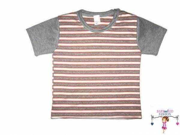 Gyerek rövid ujjú póló, narancssárga csíkos, kisgyerekeknek, termékkép.