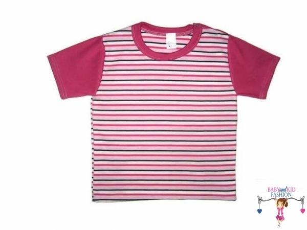 Gyerek rövid ujjú póló, pink csíkos, kisgyerekeknek, termékkép.