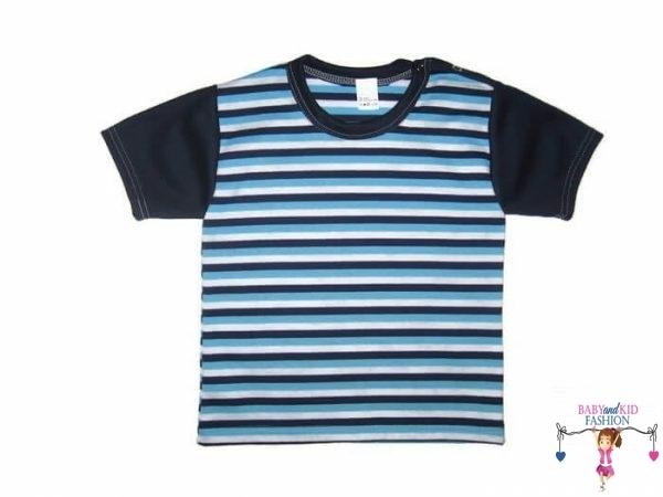 Gyerek rövid ujjú póló, türkizkék csíkos, kisgyerekeknek, termékkép.