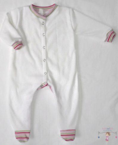 hosszú ujjú rugdalózó, kislányoknak, fehér színű, pink csíkos passzékkal, termékkép.