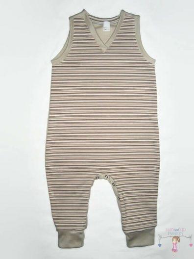 kezeslábas pizsama, kisgyerekeknek, ujjatlan, drapp csíkos, termékkép.