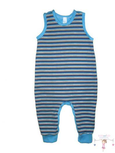 kezeslábas pizsama, kisgyerekeknek, ujjatlan, tengerkék csíkos, termékkép.