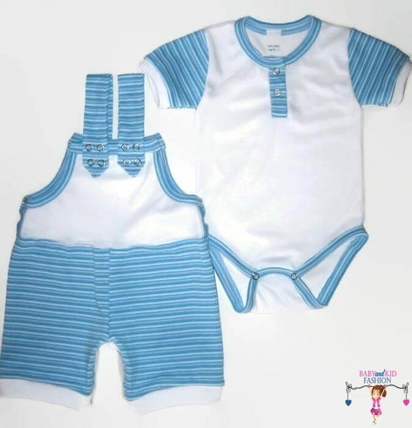 kisfiú szett, rövid, kék csíkos kantáros nadrág bodyval, kisbabáknak, termékkép.