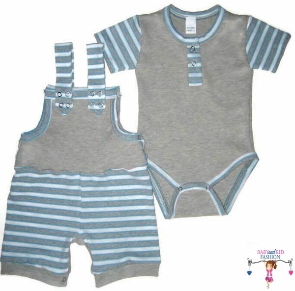 kisfiú szett, rövid, szürke színű kantáros nadrág bodyval, kisbabáknak, termékkép.