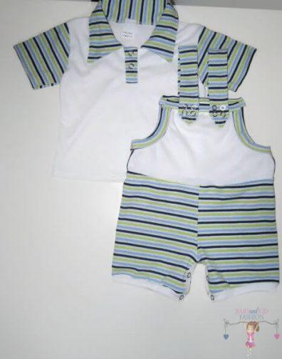 kisfiú szett, rövid kantáros nadrág, galléros pólóval kisbabáknak, termékkép.