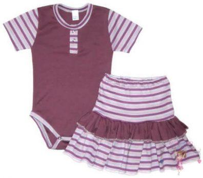 kislány ruha szettek, lila két részes nyári szett, lila csíkossal variálva, kisbabáknak, termékkép.