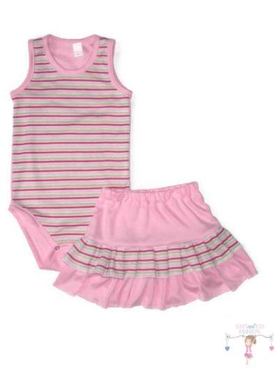 kislány ruha szettek, babarózsaszín két részes nyári szett, rózsaszín csíkossal variálva, kisbabáknak, termékkép.