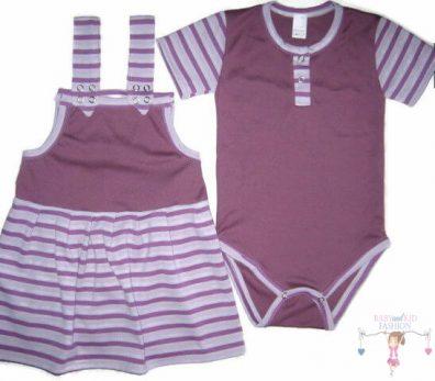kislány ruha szettek, rövid kantáros szoknya, lila bodyval, kisbabáknak, termékkép.