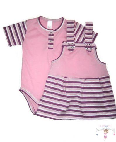 kislány ruha szettek, rövid kantáros szoknya, rózsaszín bodyval, kisbabáknak, termékkép.