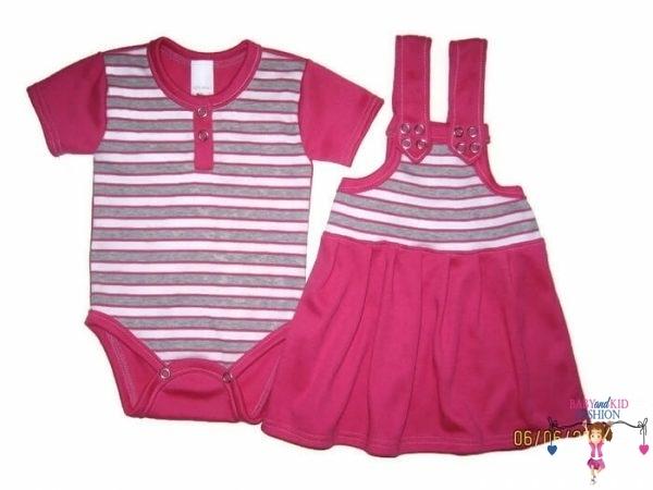 kislány ruha szettek, rövid kantáros szoknya, pink bodyval, kisbabáknak, termékkép.