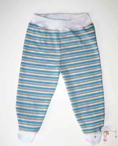 lábfejes baba nadrág, kék csíkos, kisbabáknak, termékkép.