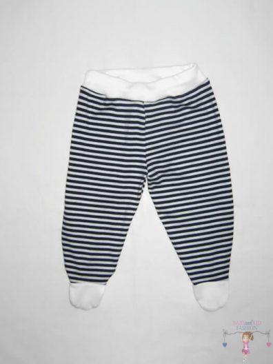 baba talpas nadrág, kék csíkos, kisbabáknak, termékkép.