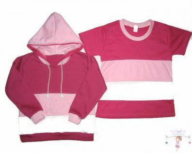 lányka pulcsi és lányka póló, két részes, pink, rózsaszín, fehér színek variációjából készült, kislányoknak, termékkép.