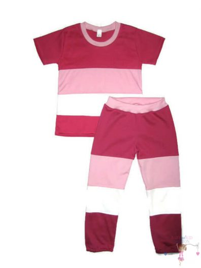 lányka szett, két részes póló és hosszú nadrág variációja, pink, rózsaszín, fehér színek variációjából készült, kislányoknak, termékkép.