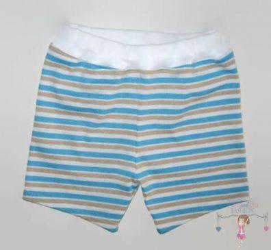 fiú pamut rövid nadrág, kék csíkos, kisgyerekeknek, termékkép.