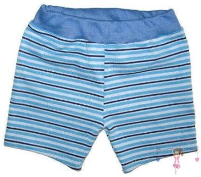 fiú pamut rövid nadrág, türkizkék csíkos, kisgyerekeknek, termékkép.