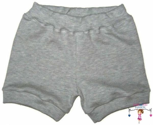 pamut baba rövid nadrág, szürke színű, kisgyerekeknek, termékkép.
