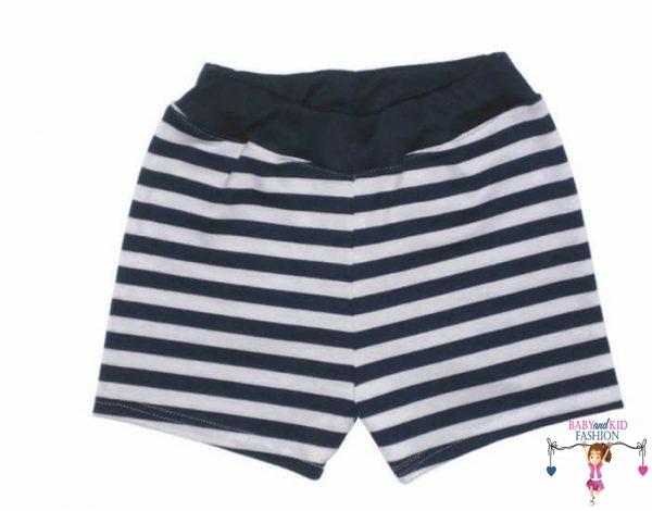 fiú pamut rövid nadrág, sötétkék csíkos, kisgyerekeknek, termékkép.