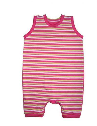 baba napozó, pink csíkos, pink rövid ujjal, termékkép.